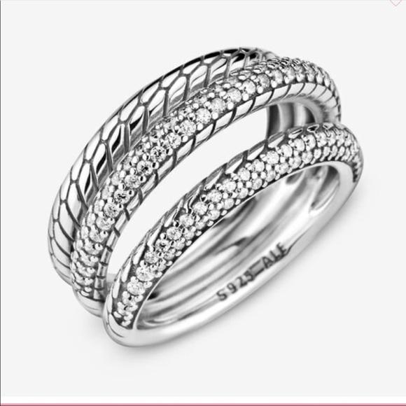 NWOT Pandora Triple Band Pavé Ring
